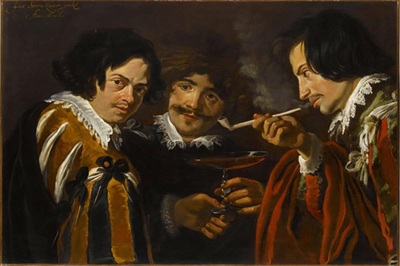 12. Simon de Vos (1603-1676, peintre flamand. Le fumeur de pipe, Musée du Louvre.
