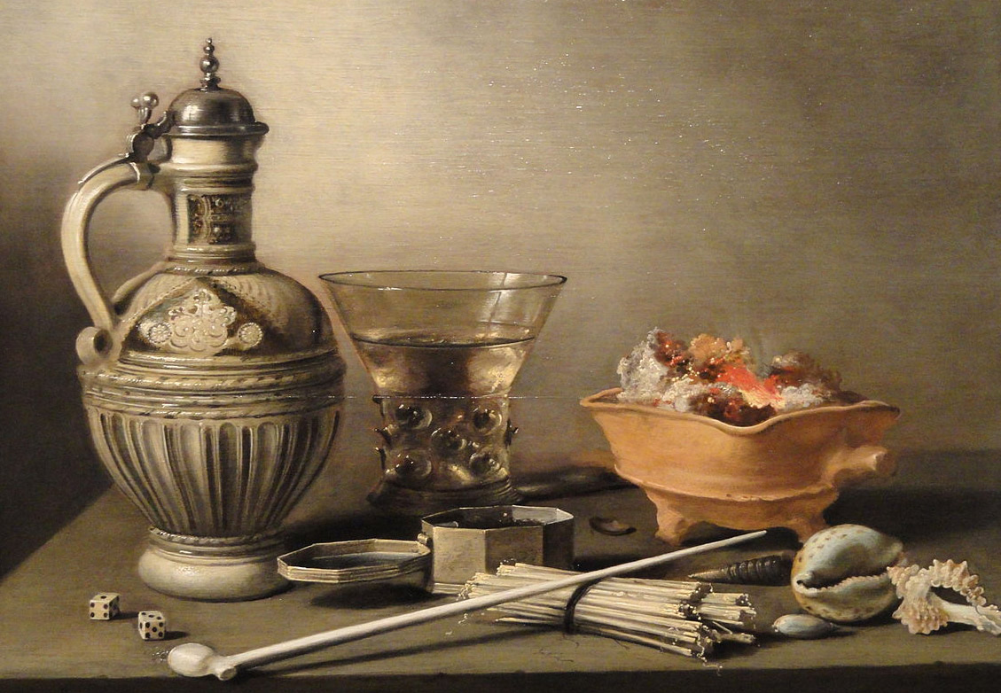 13. Peinture de Pietr Claesz (1597/98-1660). Nature morte à la pipe 1640. Indianapolis Museum of art, William Ray Adams Memorial Collection.
