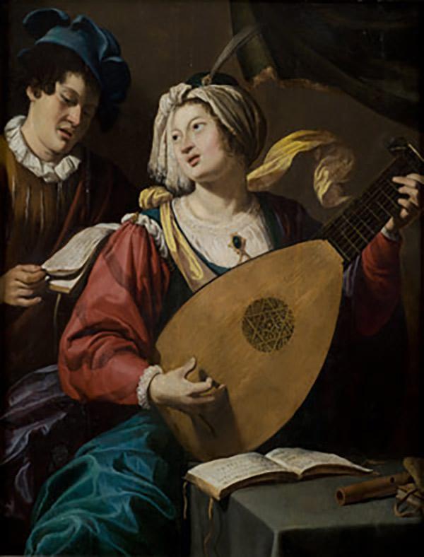 14. Le Duo, attribué au peintre anversois Théodor Rombouts. Theodore Rombouts (Anvers, 1597-1637) est un peintre baroque flamand des Pays-Bas espagnols. Il est surtout connu pour ses scènes de genre caravagesque. Il est considéré comme le représentant principal et le plus original du caravagisme flamand. Ces Caravaggisti faisaient partie d'un mouvement international d'artistes européens qui ont interprété l'œuvre du Caravage et de ses adeptes de manière personnelle.