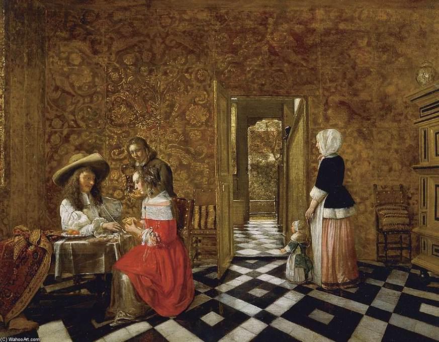 15. Peinture de Henrick Van der Burn (1627- après 1665), membre de la guilde de Saint Luc. Intérieur hollandais. La guilde de Saint-Luc représentait non seulement des peintres, sculpteurs et autres plasticiens, mais aussi - surtout au XVIIe siècle - des marchands, des armateurs et même des amateurs d'art (les soi-disant liefhebbers ). Dans les structures traditionnelles des guildes, les peintres en bâtiment et les décorateurs appartenaient souvent à la même guilde. Cependant, à mesure que les artistes se formaient sous leur propre guilde spécifique de Saint-Luc, en particulier aux Pays-Bas, des distinctions étaient de plus en plus faites. En général, les guildes émettaient également des jugements sur les différends entre les artistes et d'autres artistes ou leurs clients. De cette manière, elles contrôlaient la carrière économique d'un artiste travaillant dans une ville spécifique, alors que dans différentes villes, ils étaient totalement indépendants et souvent compétitifs les uns par rapport aux autres.Au plan social on remarque l'intérêt pour des représentations de groupes familiaux et des assemblées masculines en relation avec des guildes ou des compagnies de nature diverses.