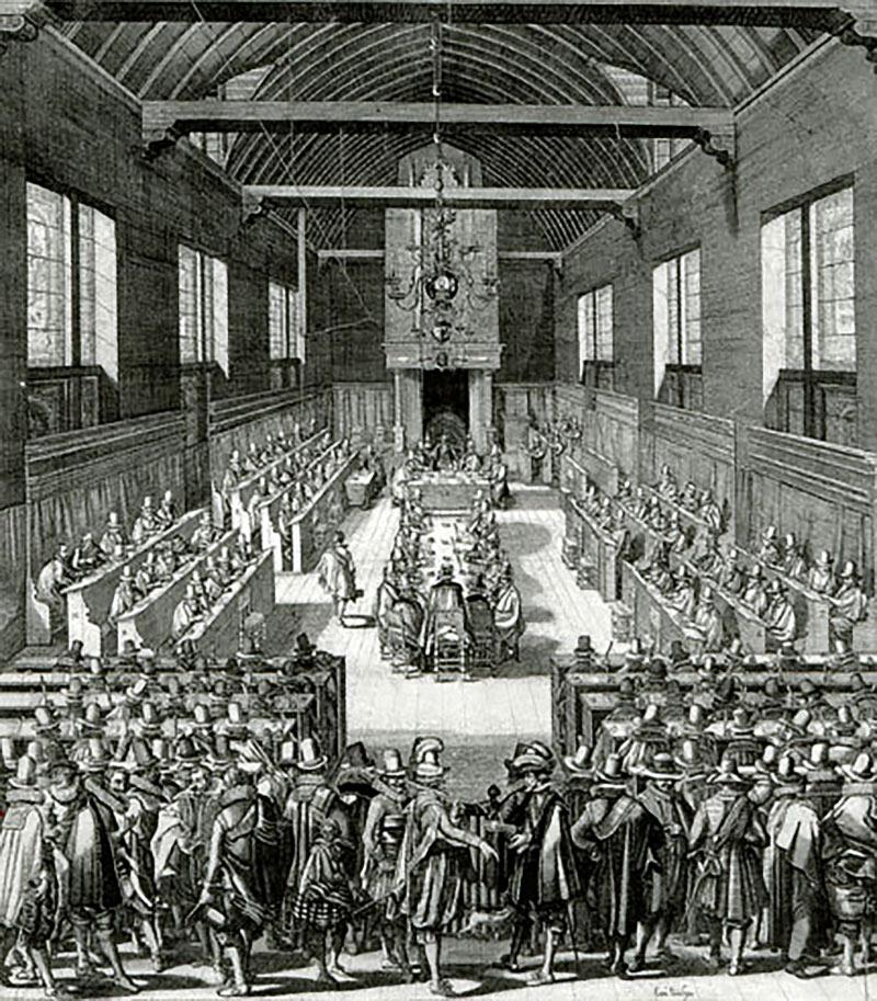 19. Synode de Dordrecht (1618-1619). Le synode de Dordrecht ou synode de Dort (Dordt) est un synode national de l'Église réformée néerlandaise. Des représentants des Églises réformées de huit pays étrangers furent aussi invités et participèrent aux votes.Dans le protestantisme le synode est l'assemblée responsable du gouvernement d'une Église. Des laïcs font partie des synodes protestants aux côtés des pasteurs. Musée international de la Réforme. Genève.