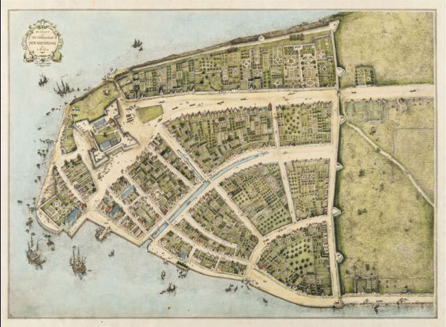 3. Plan de la Nouvelle Amsterdam sur l'île de Manhattan. En 1625, sous la menace grandissante d'une attaque provenant d'autres puissances coloniales, les dirigeants de la Compagnie néerlandaise des Indes occidentales décidèrent de protéger l'embouchure du fleuve Hudson, et de regrouper les activités des comptoirs commerciaux dans une enceinte fortifiée protégée par un fort.