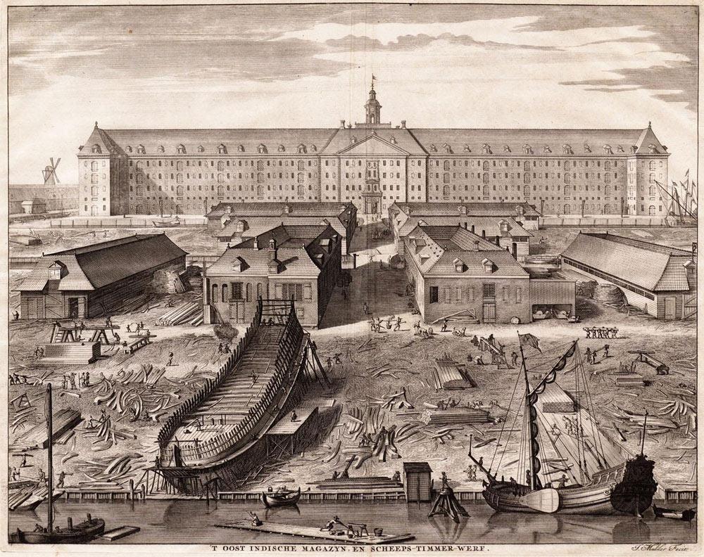 21. L'arsenal et le chantier naval de la VOC à Amsterdam vers 1650. Dans le sens premier du terme, un arsenal est un établissement militaire, qui peut être « royal » ou « national », un lieu où l'on construit, entretient, répare et préserve les navires de guerre et où leurs équipements et ravitaillement sont assurés.
