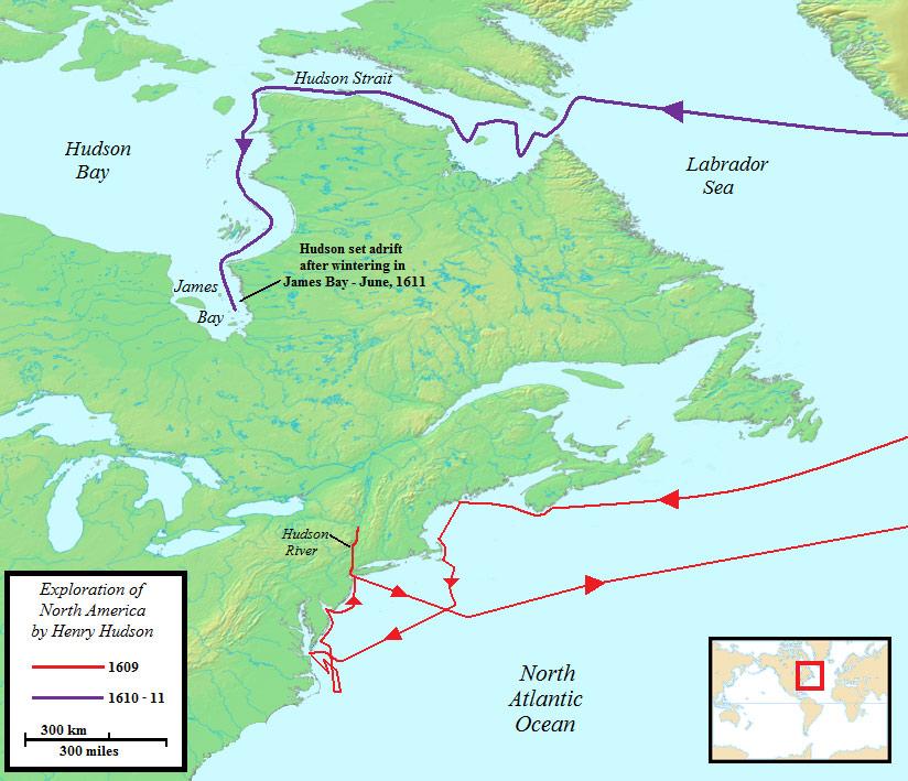 24. Exploration de l'Amérique du Nord par Henry Hudson 1609 à 1611. Henry Hudson, probablement né en 1665 à Londres, est un explorateur anglais. Il a donné son nom au fleuve Hudson, au détroit d'Hudson et la baie d'Hudson. Les États généraux revendiquèrent ultérieurement ce territoire comme la Nouvelle Néerland et y établirent la colonie de la Nouvelle Amsterdam. On pense que c'est Hudson, lui-même qui donna le nom de Staten Island («Staaten Eyslandt» en néerlandais) en honneur des États généraux.