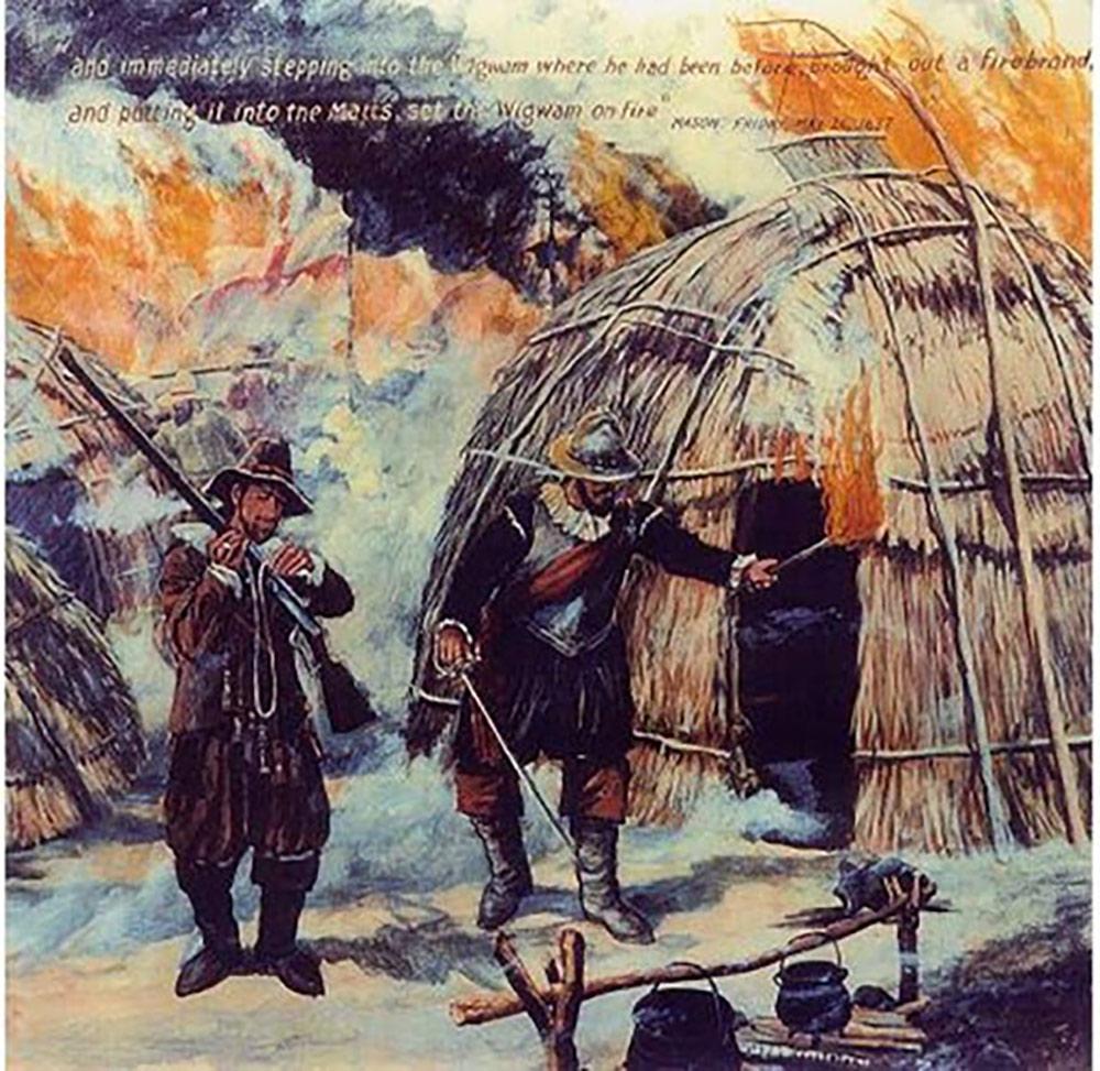 28. La guerre des Pequots est une guerre qui opposa les Amérindiens pequots aux colons britanniques et à leurs alliés dans le Massachusetts à l'automne 1636. Les Pequots étaient une tribu agressive de la vallée de la rivière Connecticut, région où, dans les années 1630, existait une rivalité entre Anglais, Hollandais et Indiens. La cohabitation des colons et des Amérindiens se fait difficile dans le Massachusetts à partir de 1633, car la tribu des Pequots perd 4 000 membres sur 8 000 à cause d'une épidémie de variole apportée par ces colons, ce qui suscita des tensions avec ces derniers. En 1634, à la suite d'une rivalité avec la tribu des Narragansetts, au sujet du commerce avec les Hollandais, Tatobem le Grand Sachem Pequot est tué et remplacé par son fils Sassacus.