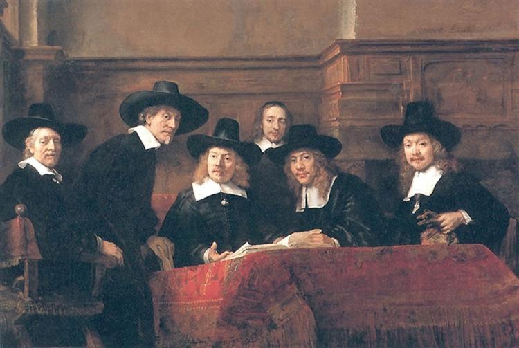 2. Peinture de Rembrandt 1662. Le syndic de la guide des drapiers d'Amsterdam. Cette toile représente six personnages en costume noir, portant chapeaux en poil de castor et fraises, qui vérifient les comptes de la corporation. C'est le temps où les riches marchands des Guildes, les syndics d'artisans, les milices urbaines se font «tirer le portrait» en groupe pour accrocher les tableaux aux murs de la salle dans laquelle ils se réunissent afin de passer à la postérité et que celle-ci reconnaisse leur gloire. Rijksmuseum, Amsterdam.