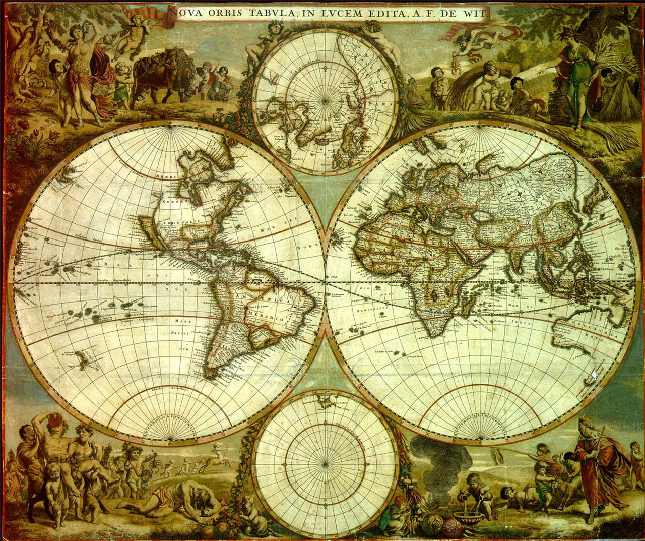 7. Frederik de Wit (1630-1706). Planisphère Nova Orbis Tabula 1662. Bibliothèque royale de Belgique. On remarque les lacunes affectant l'Amérique du Nord.