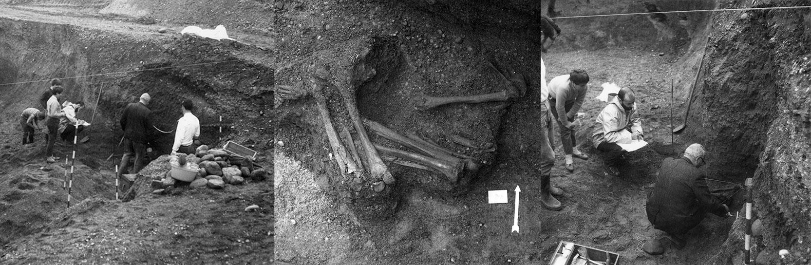 Tombes néolithiques d' Allaman (Vaud) 1969.  </br>En compagnie du professeur Marc-Rodolphe Sauter