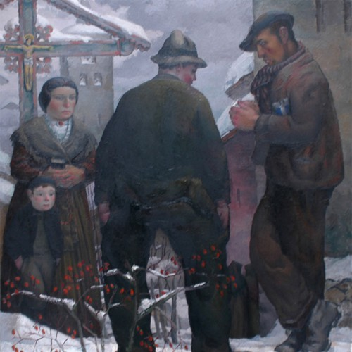 Au sortir de l'église. Tarentaise 1938. Peinture Robert Gallay