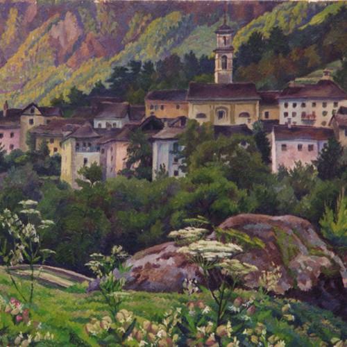Le village de Prato, val Maggia, au Tessin, notre base de vacances et de rêve. Peinture Robert Gallay