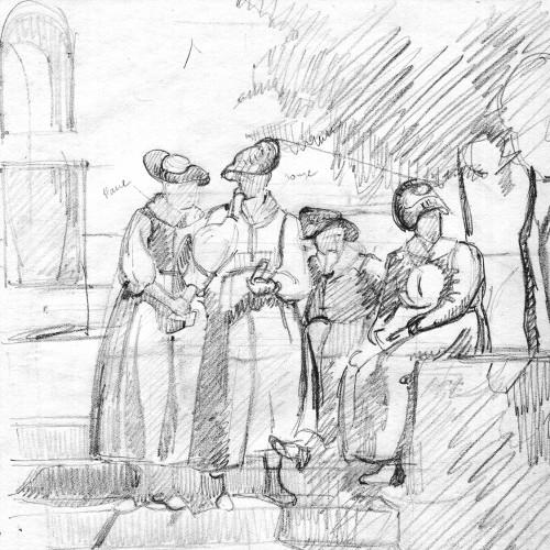 Robert Gallay. Femmes en costume devant l'église d'Evolène (val d'Hérens, Valais), non daté.